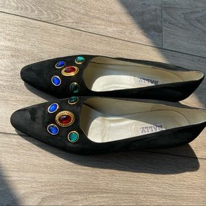 Bally Suede Crystal Embellished All Leather Pump